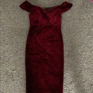 Bardot velvet dress